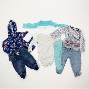 Lot of 8 Baby Girl Clothing Items Pants Bodysuits